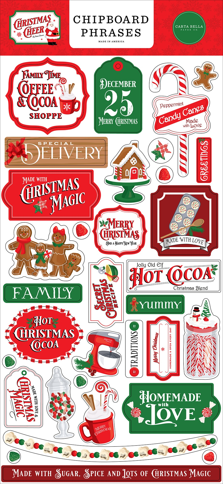 Christmas Cheer Chipboard 6X13-Phrases