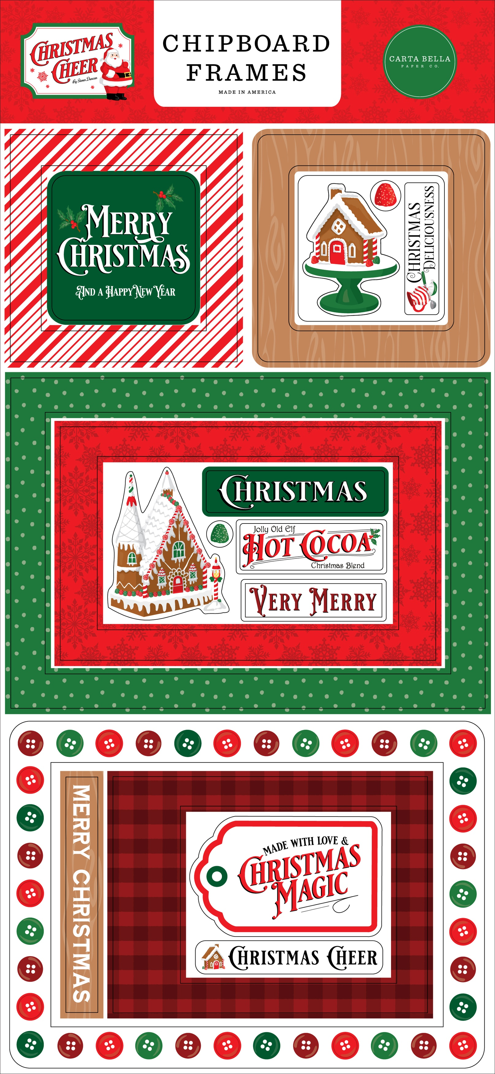 Christmas Cheer Chipboard 6X13-Frames
