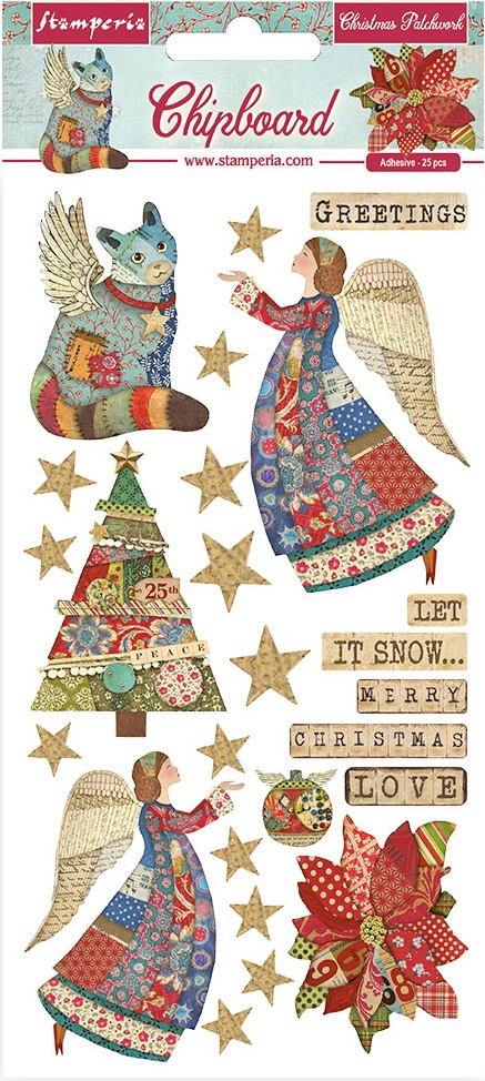 Christmas Patchwork Chipboard