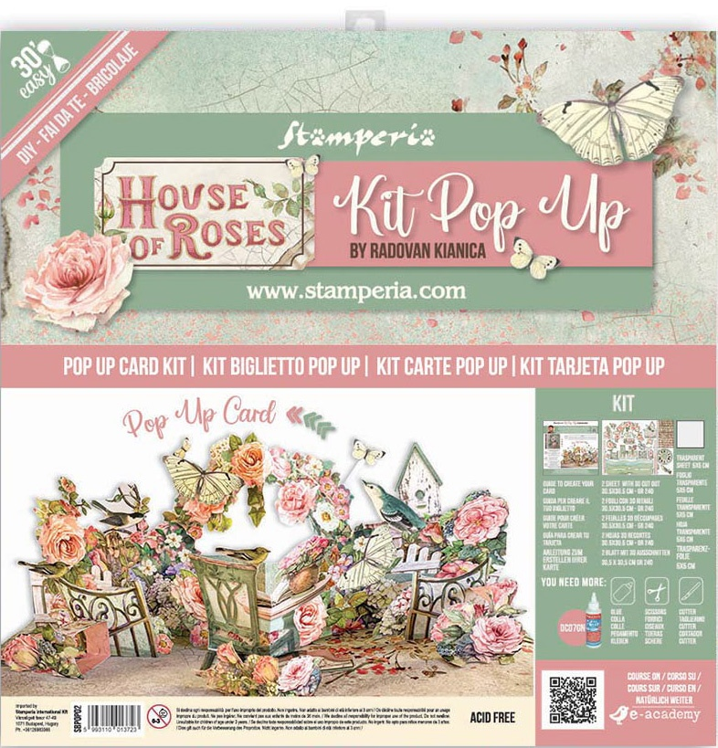 Stamperia Pop-Up Card Kit-House Of Roses