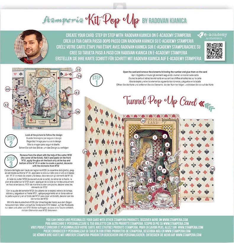 Stamperia Tunnel Pop-Up Card Kit-Alice In Wonderland