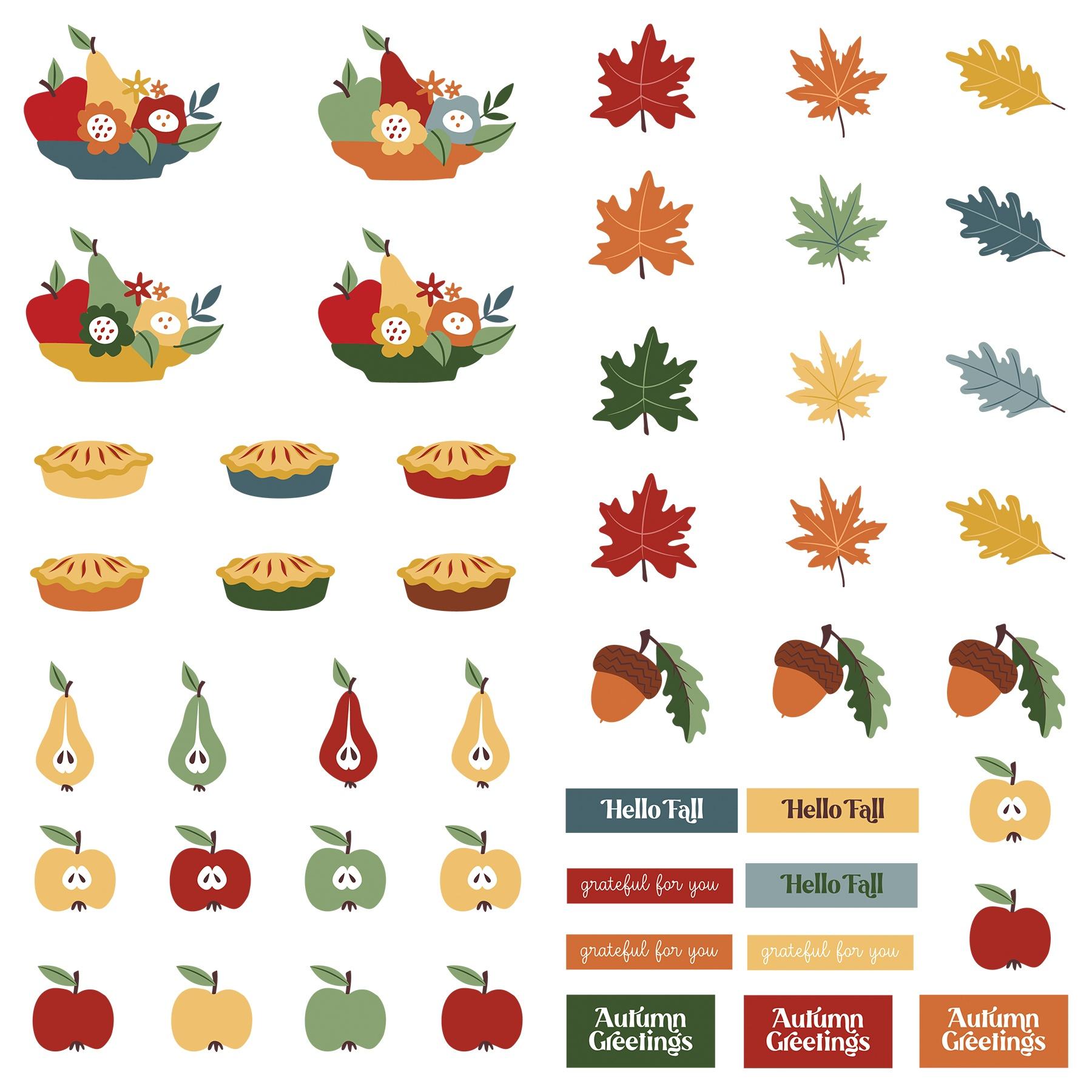 PP Autumn Greetings Cardstock Die-Cut Sheet 12X12-