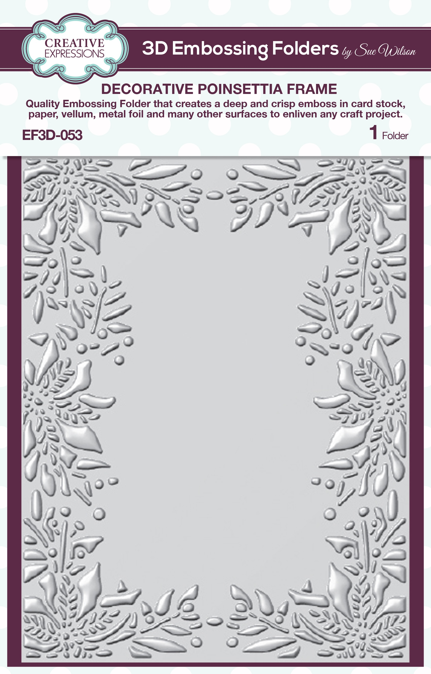 Creative Expressions 3D Embossing Folder 5.75X7.5-Poinsettia Frame