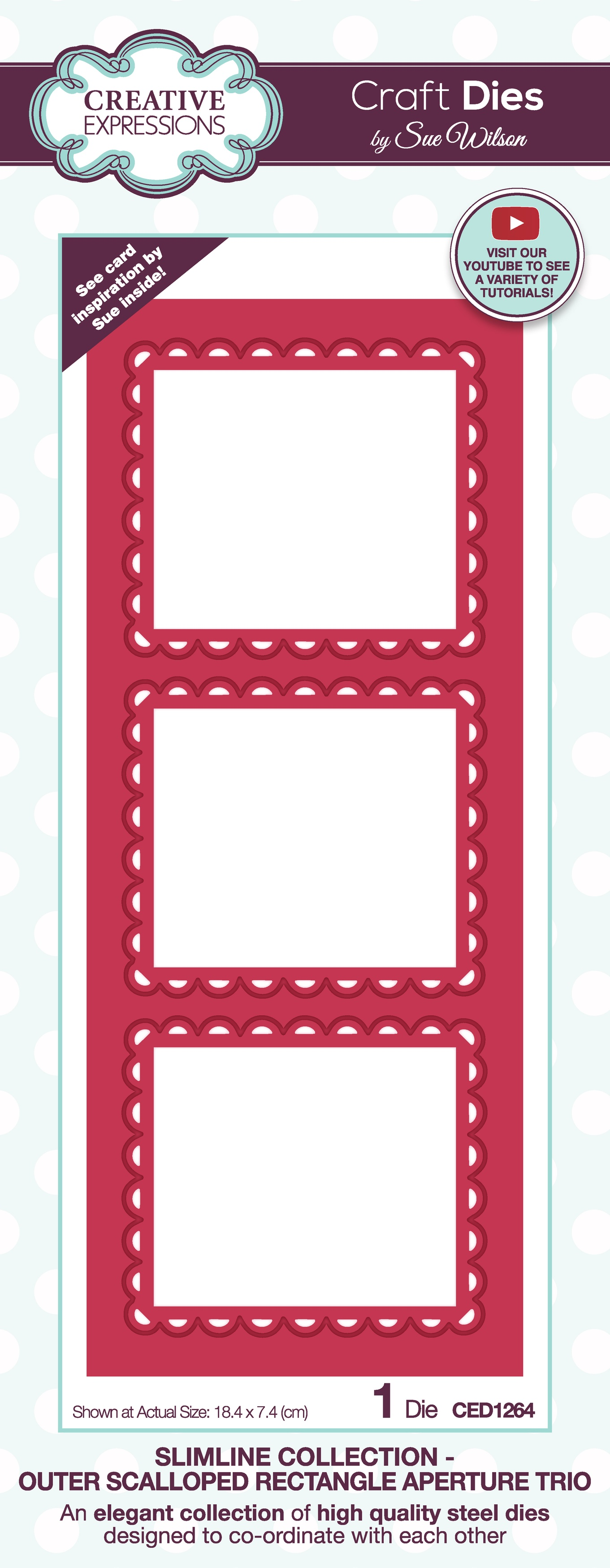 Creative Expressions Craft Dies By Sue Wilson-Slimline- Outer Scalloped Rectangl...