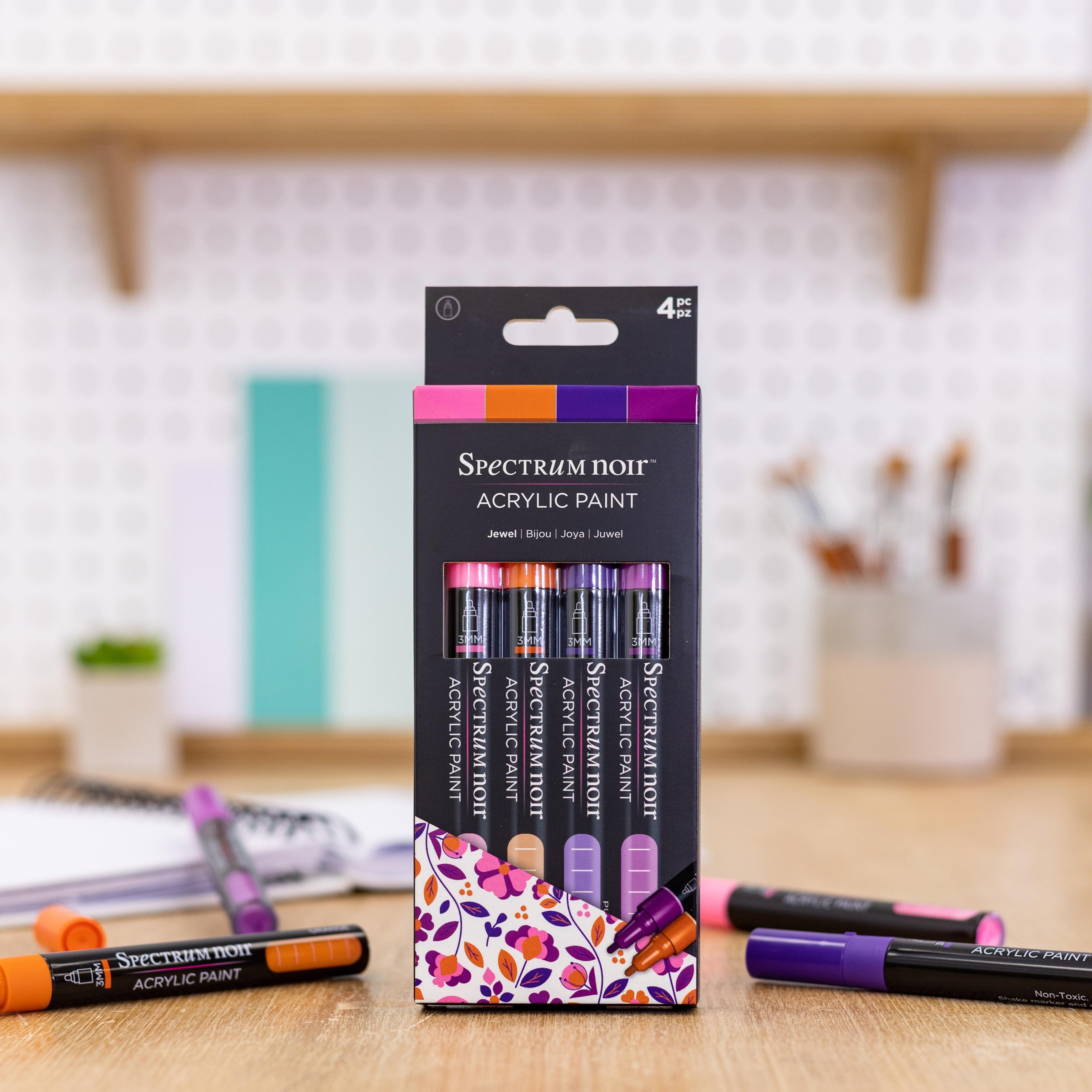 Spectrum Noir Acrylic Paint Marker Set 4/Pkg-Jewel
