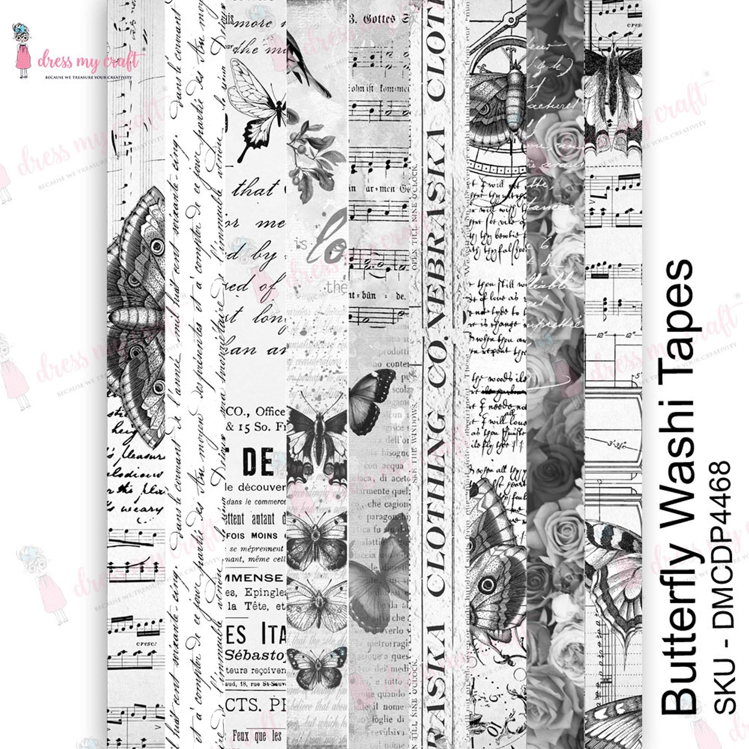 Dress My Craft Transfer Me Sheet A4-Butterfly Washi Tapes
