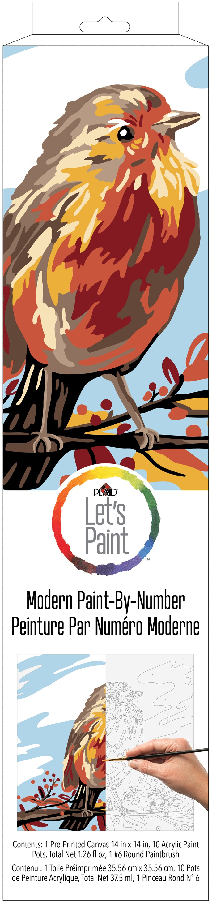 Plaid Modern Paint By Number Rolled Canvas 14X14-Fall Bird
