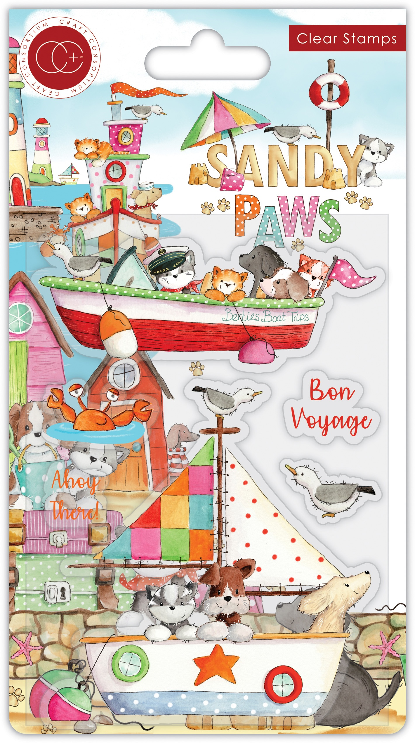 Craft Consortium A5 Clear Stamps-Bon Voyage, Sandy Paws
