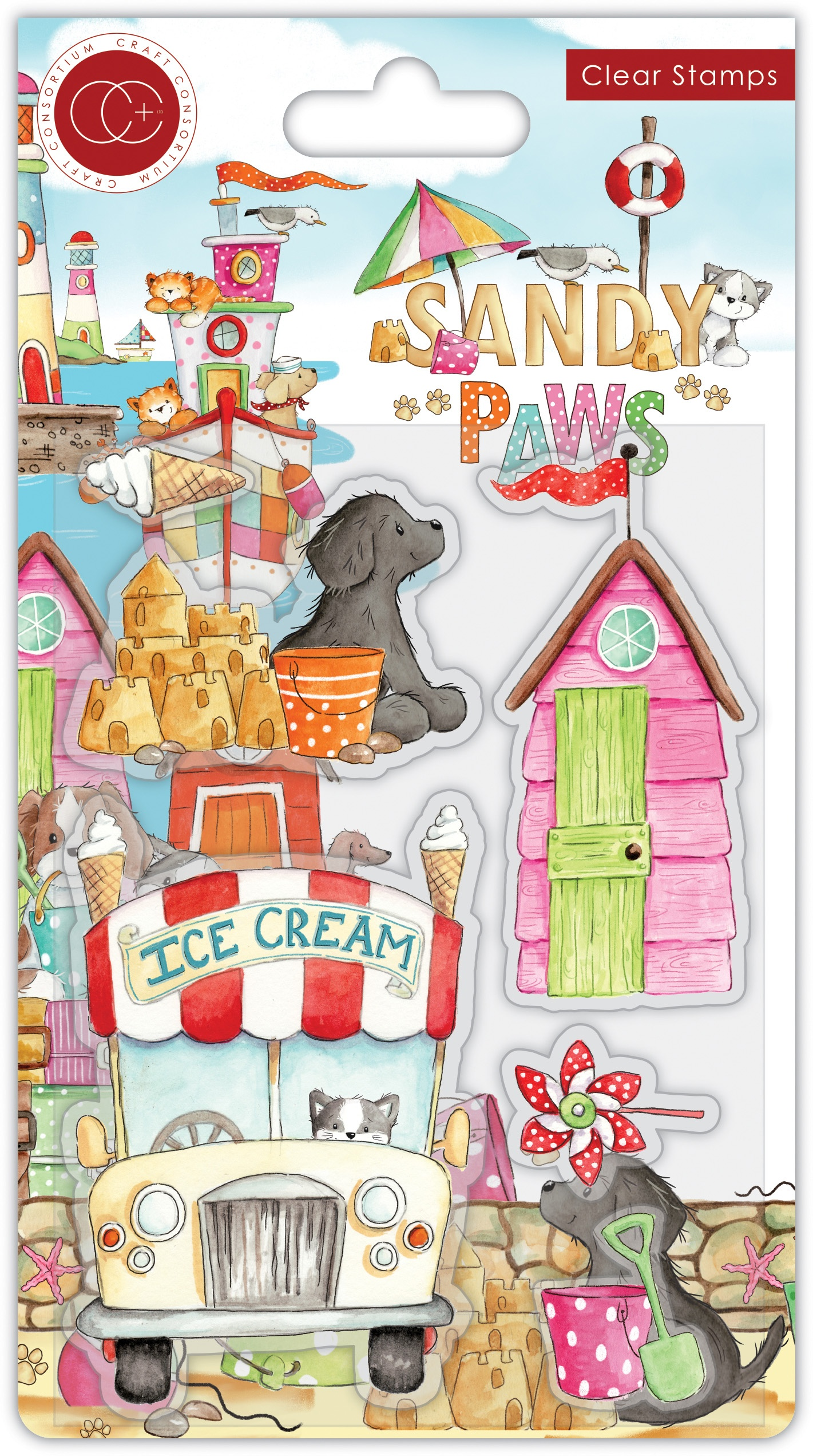 Craft Consortium - Sandy Paws - Clear Stamps - Ice Cream