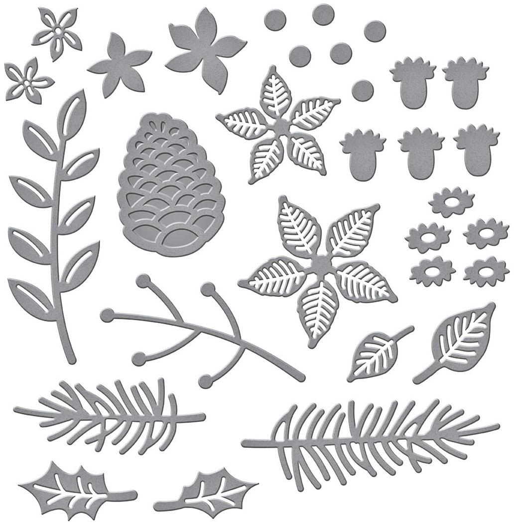 Spellbinders Etched Dies-Christmas Blooms
