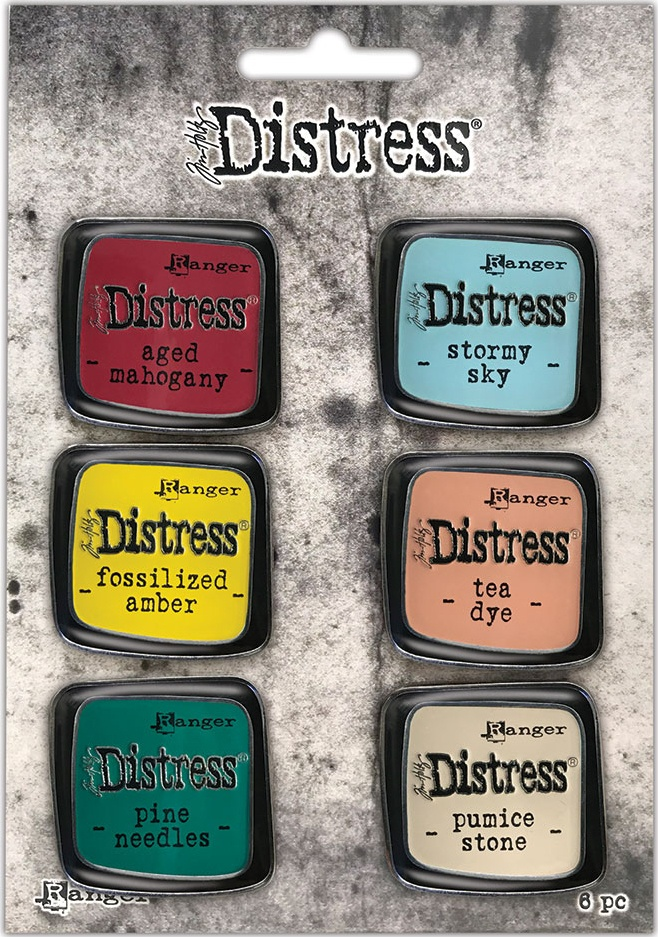 Tim Holtz Distress Enamel Collector Pin Set 6/Pkg-Set 10