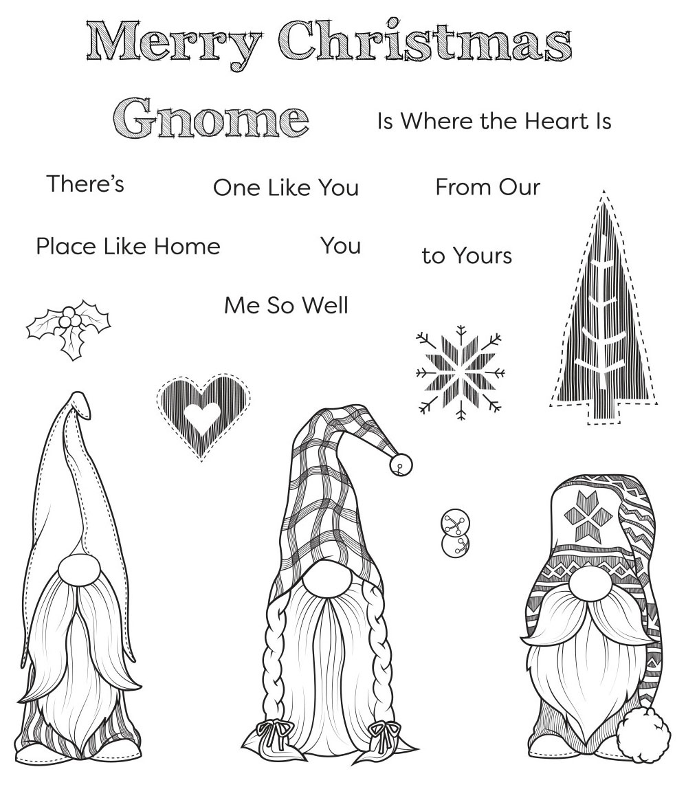 Spellbinders Clear Acrylic Stamps-Holiday Gnomes