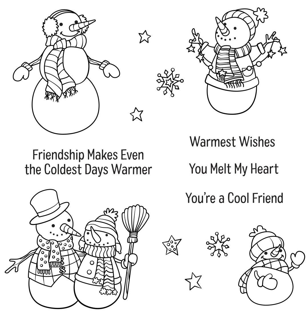 Spellbinders Clear Acrylic Stamps-Friendly Snowmen