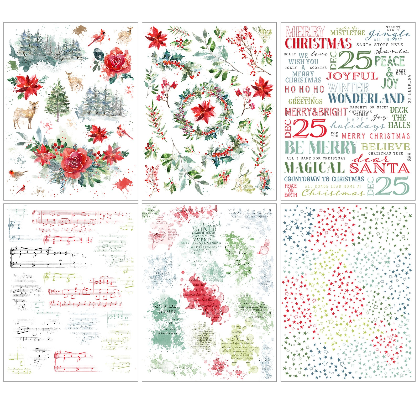 49 And Market - Vintage Artistry Peace and Joy - Rub-On Transfers