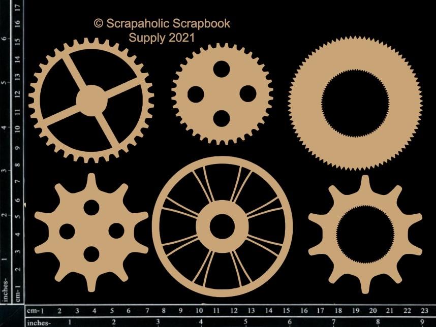 Scrapaholics Laser Cut Chipboard 2mm Thick-Memoirs Cogs, 6/Pkg, 2-3