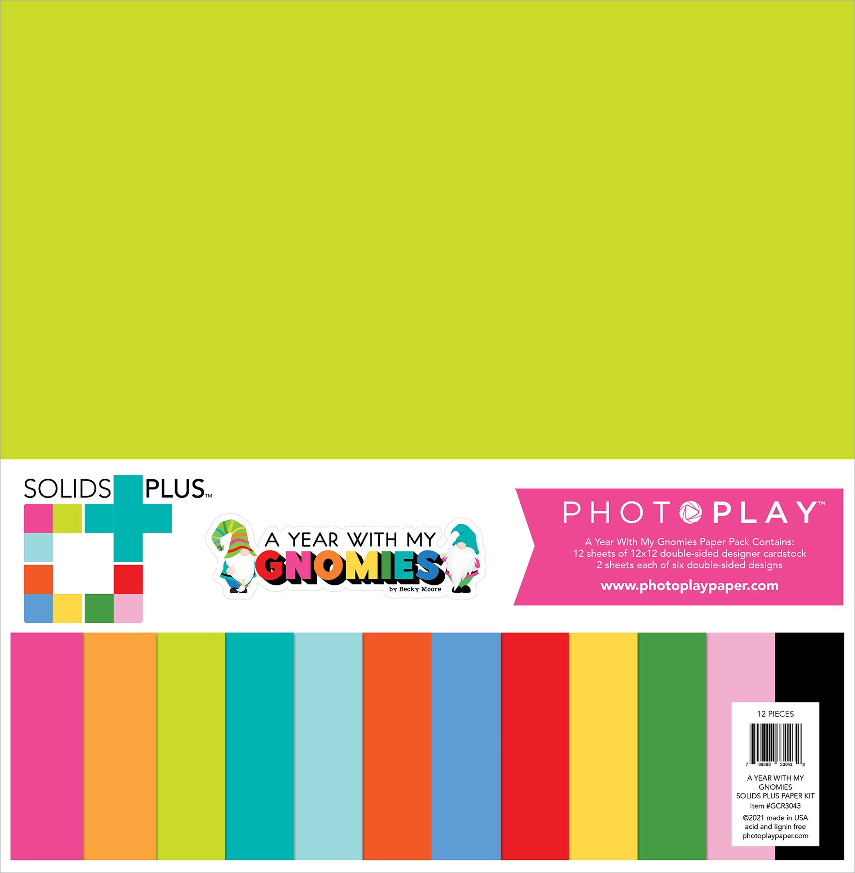 Photoplay Double-Sided Solids  Paper Pack 12X12 12/Pkg-Gnome Calendar, 6 Colo...