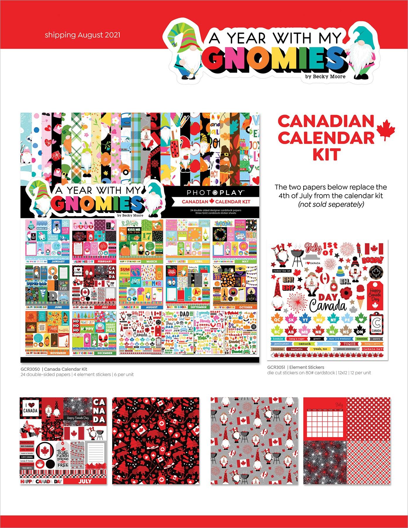 Gnome Calendar, PhotoPlay Candadian Calendar Kit