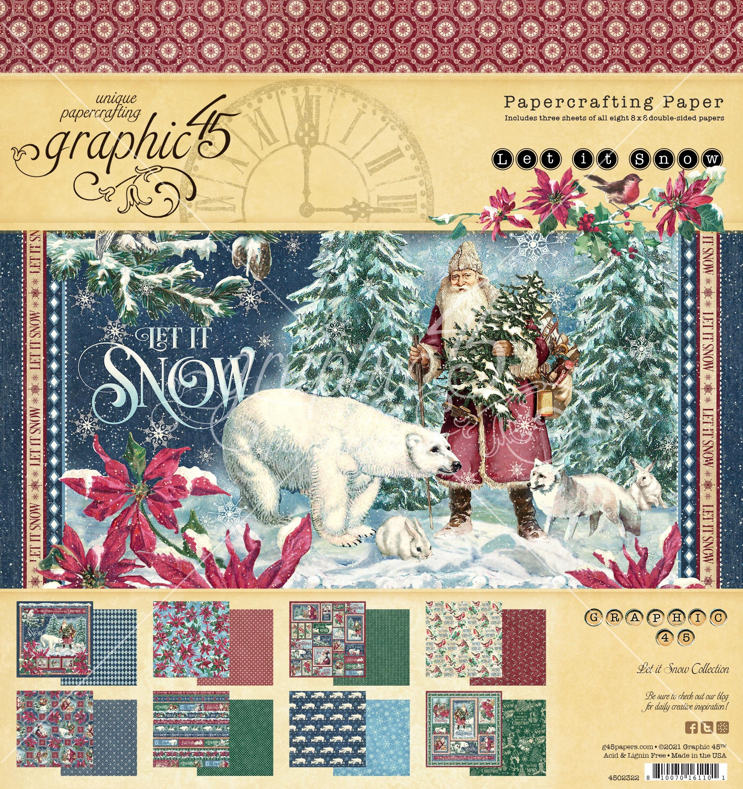Graphic 45 Double-Sided Paper Pad 8X8 24/Pkg-Let It Snow