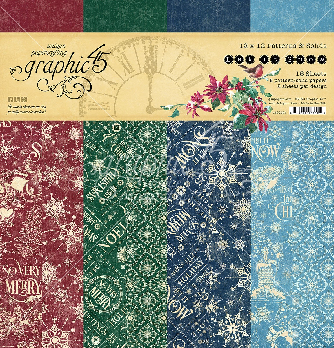 Graphic 45 Double-Sided Paper Pad 12X12 16/Pkg-Let It Snow