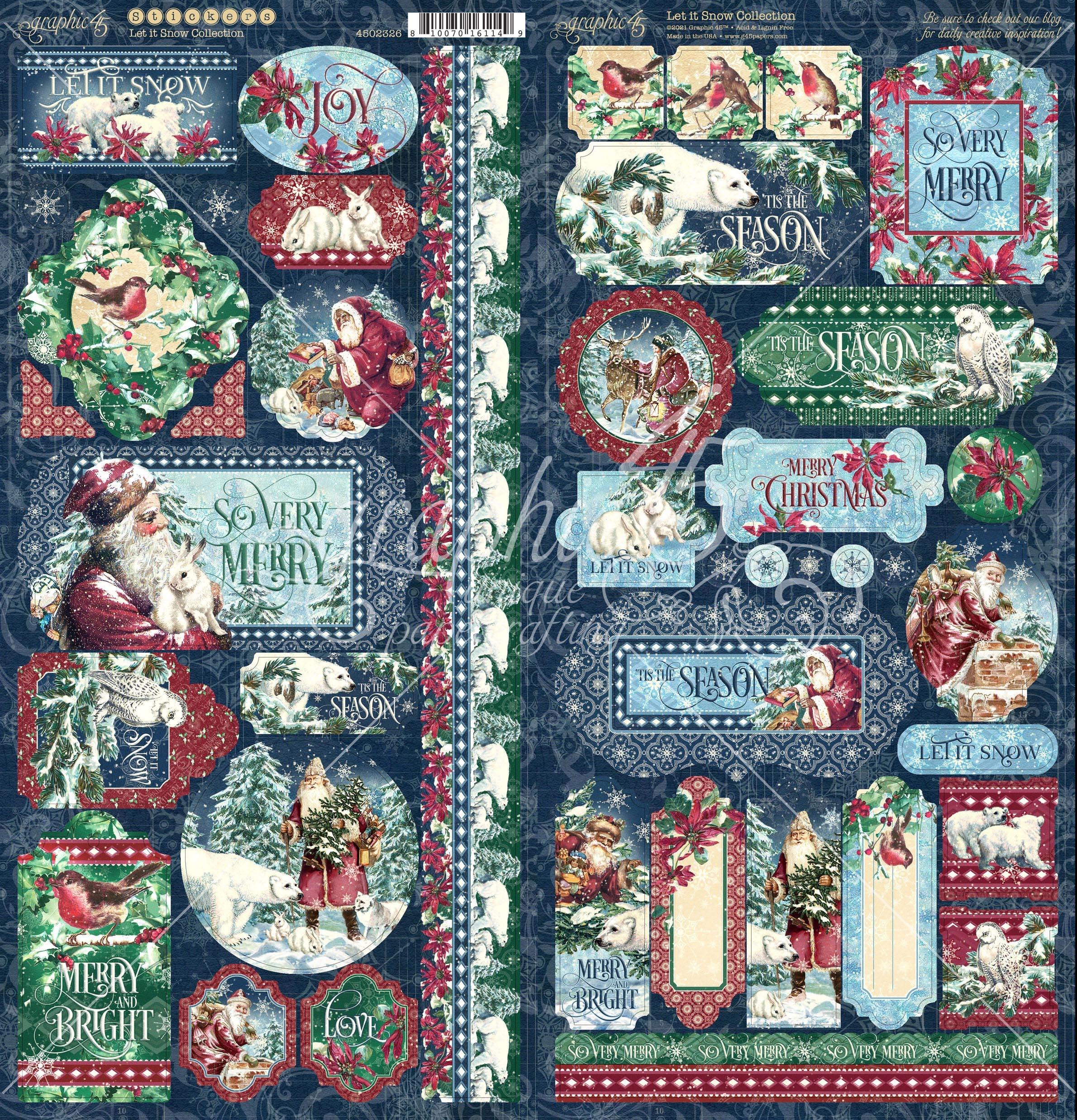Let It Snow Cardstock Stickers 12X12-