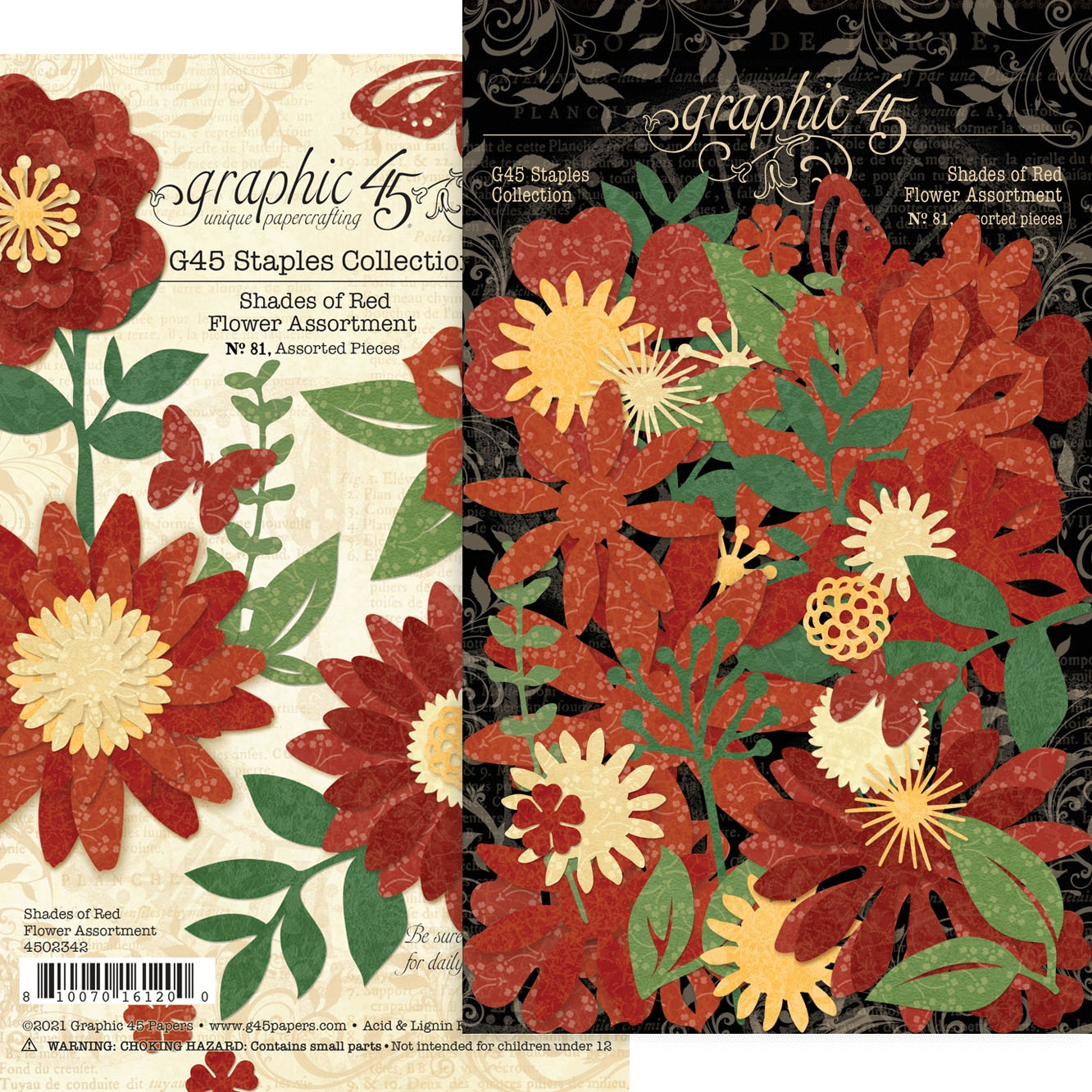 Graphic 45 Staples Flower Assortment - Shades Of Red