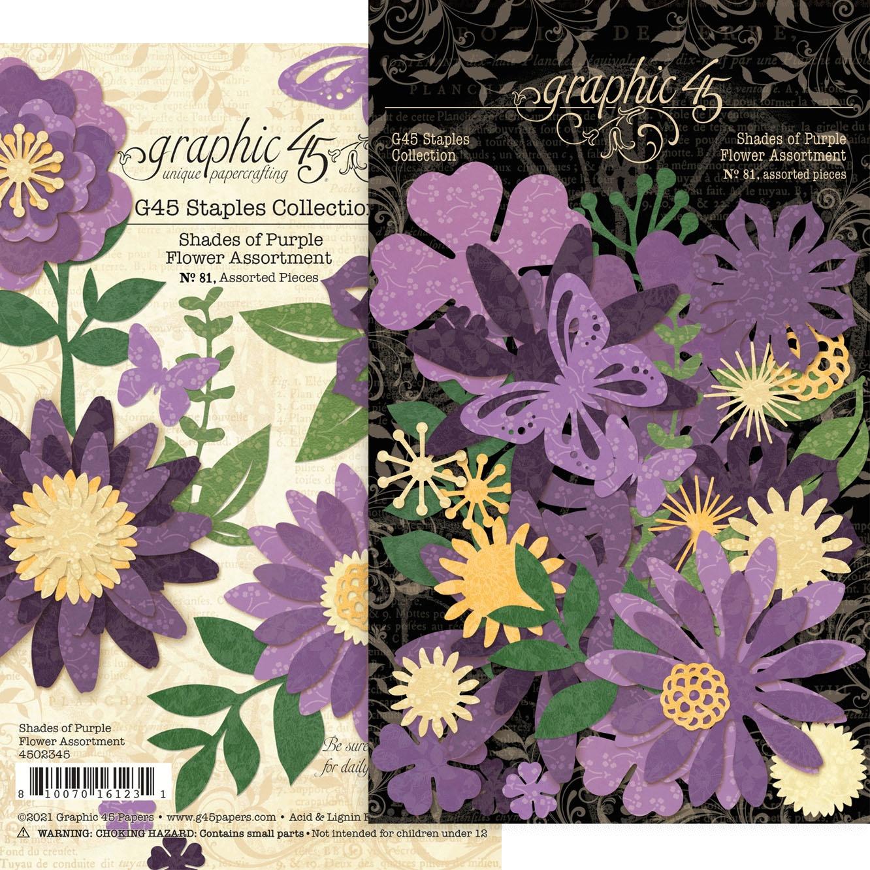 Graphic 45 Staples Flower Assortment - Shades Of Purple