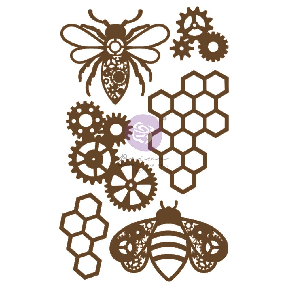 New! Prima Marketing Laser Cut Chipboard-Powerful Bees, 6/Pkg