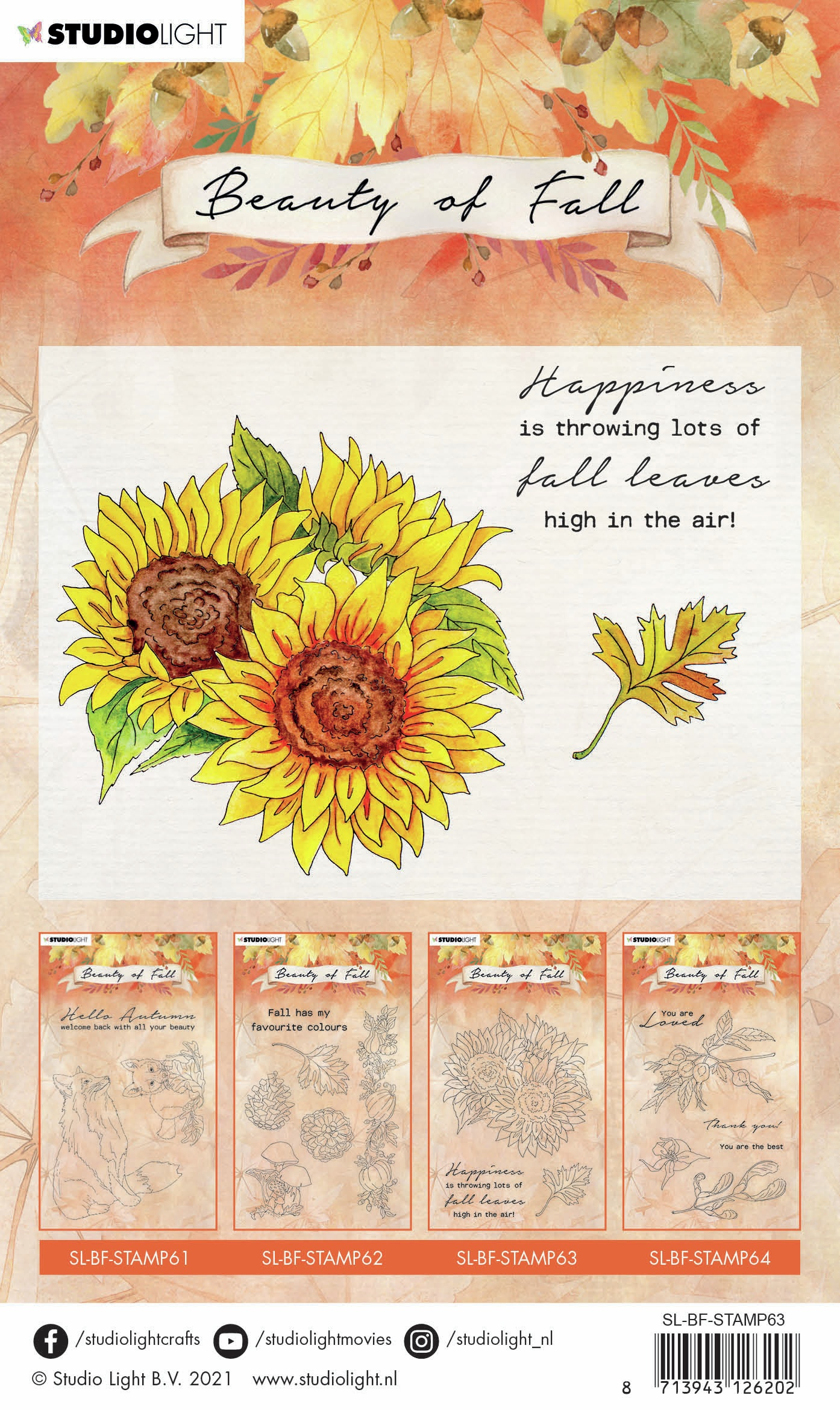 Studio Light Beauty Of Fall Clear Stamp-NR 63 Sunflower