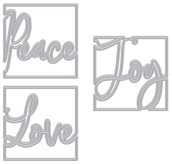 Hero Arts Fancy Dies - Looking Glass Peace Love Joy