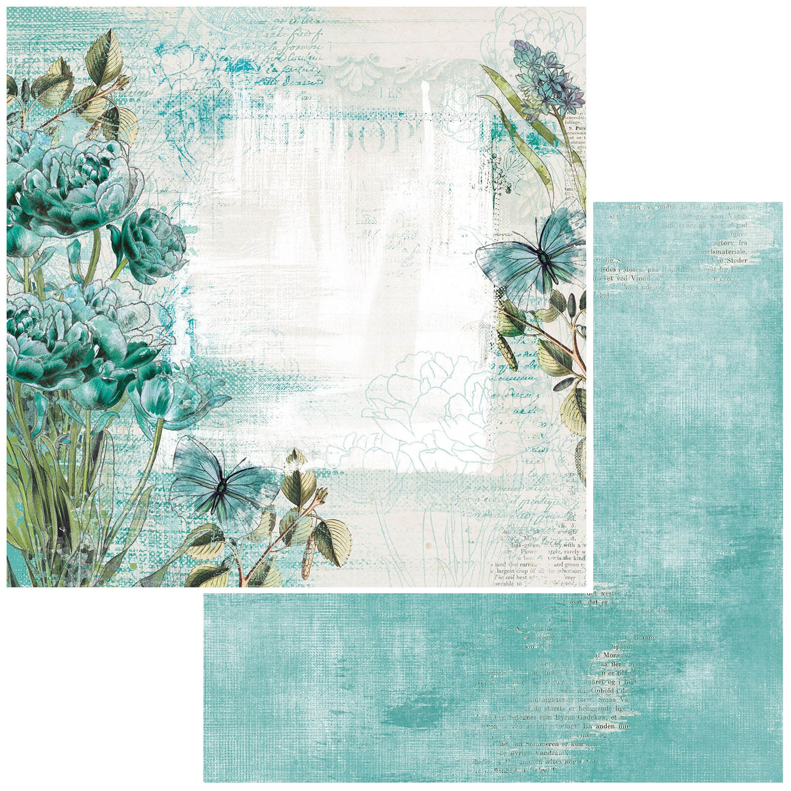 49 And Market - Vintage Artistry Teal - BLOOM - 12x12 Double-Sided Paper
