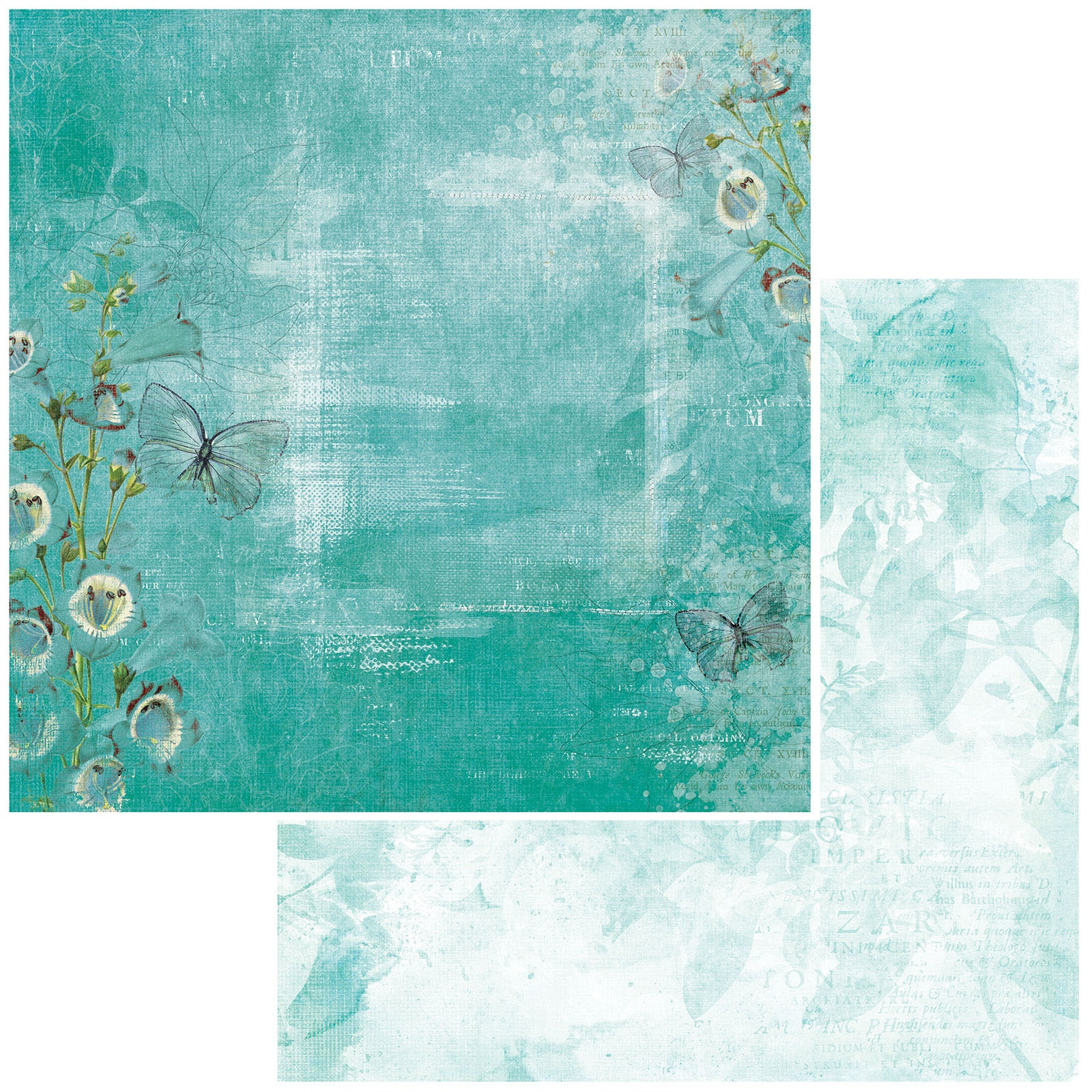 49 And Market - Vintage Artistry Teal - FLUTTER - 12x12 Double-Sided Paper