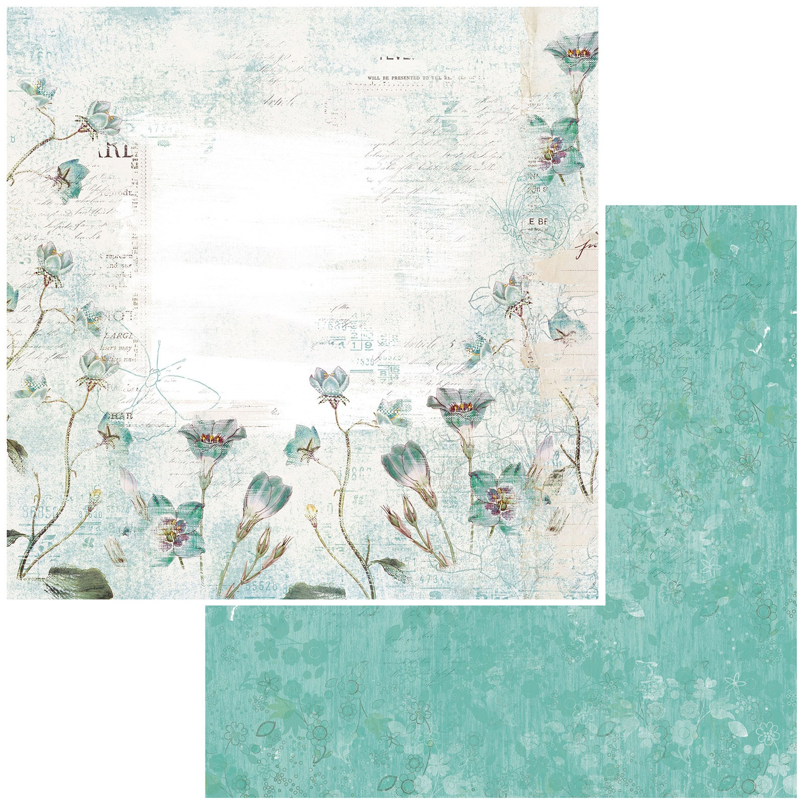 49 And Market - Vintage Artistry Teal - WHISPER - 12x12 Double-Sided Paper