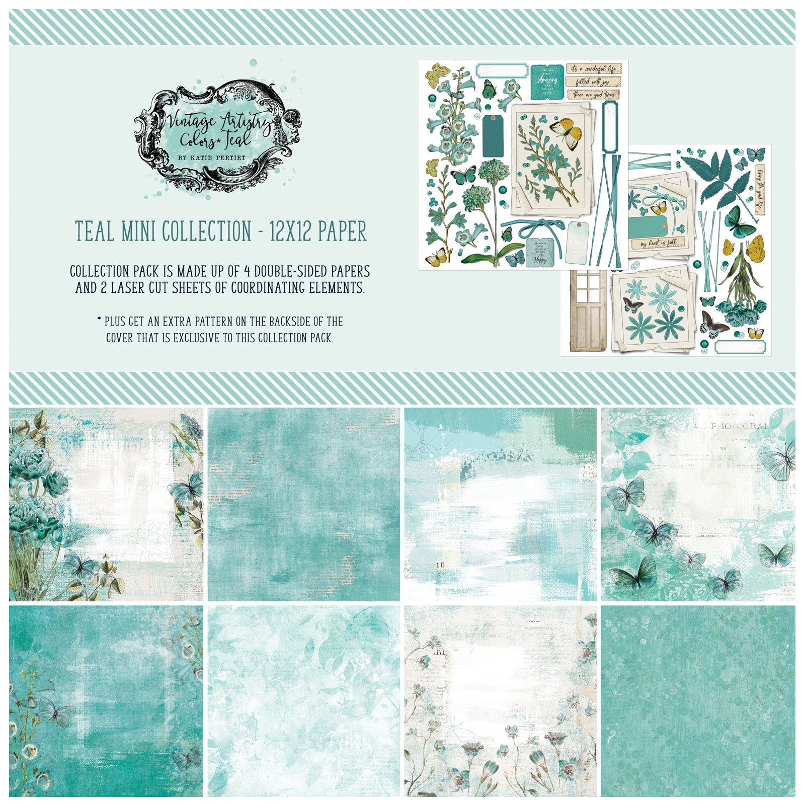 49 And Market - Vintage Artistry Teal  - 12x12 Mini Collection Pack