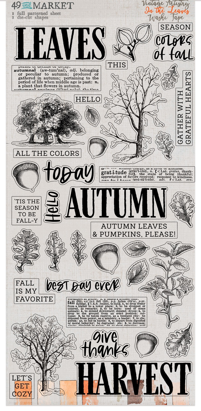 49 And Market Washi Tape-Vintage Artistry In The Leaves