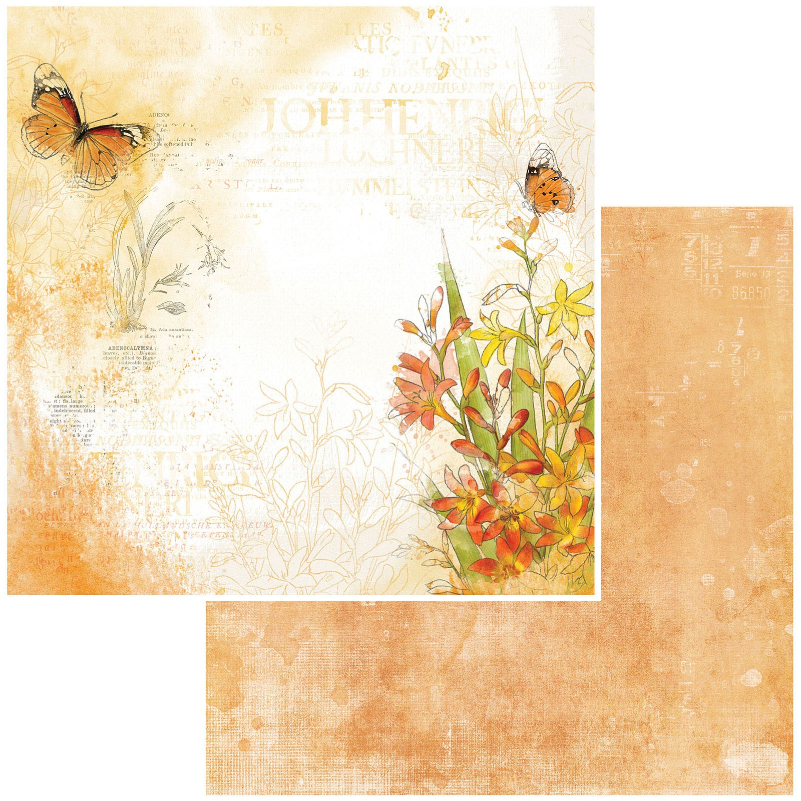 49 And Market - Vintage Artistry Mango - SAFFRON NOTES - 12x12 Double-Sided Paper
