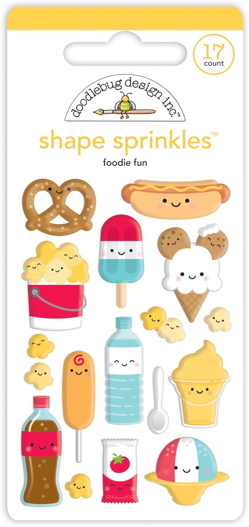 Doodlebug Sprinkles Adhesive Enamel Shapes-Foodie Fun