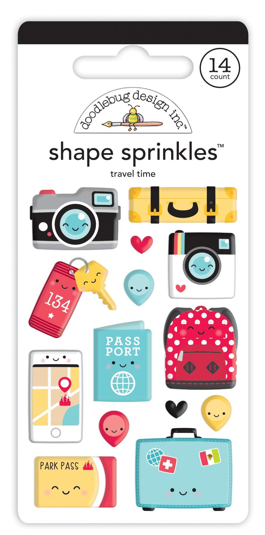 Doodlebug Sprinkles Adhesive Enamel Shapes-Travel Time