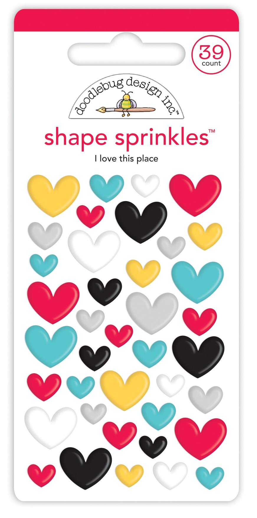 Doodlebug Sprinkles Adhesive Enamel Shapes-I Love This Place