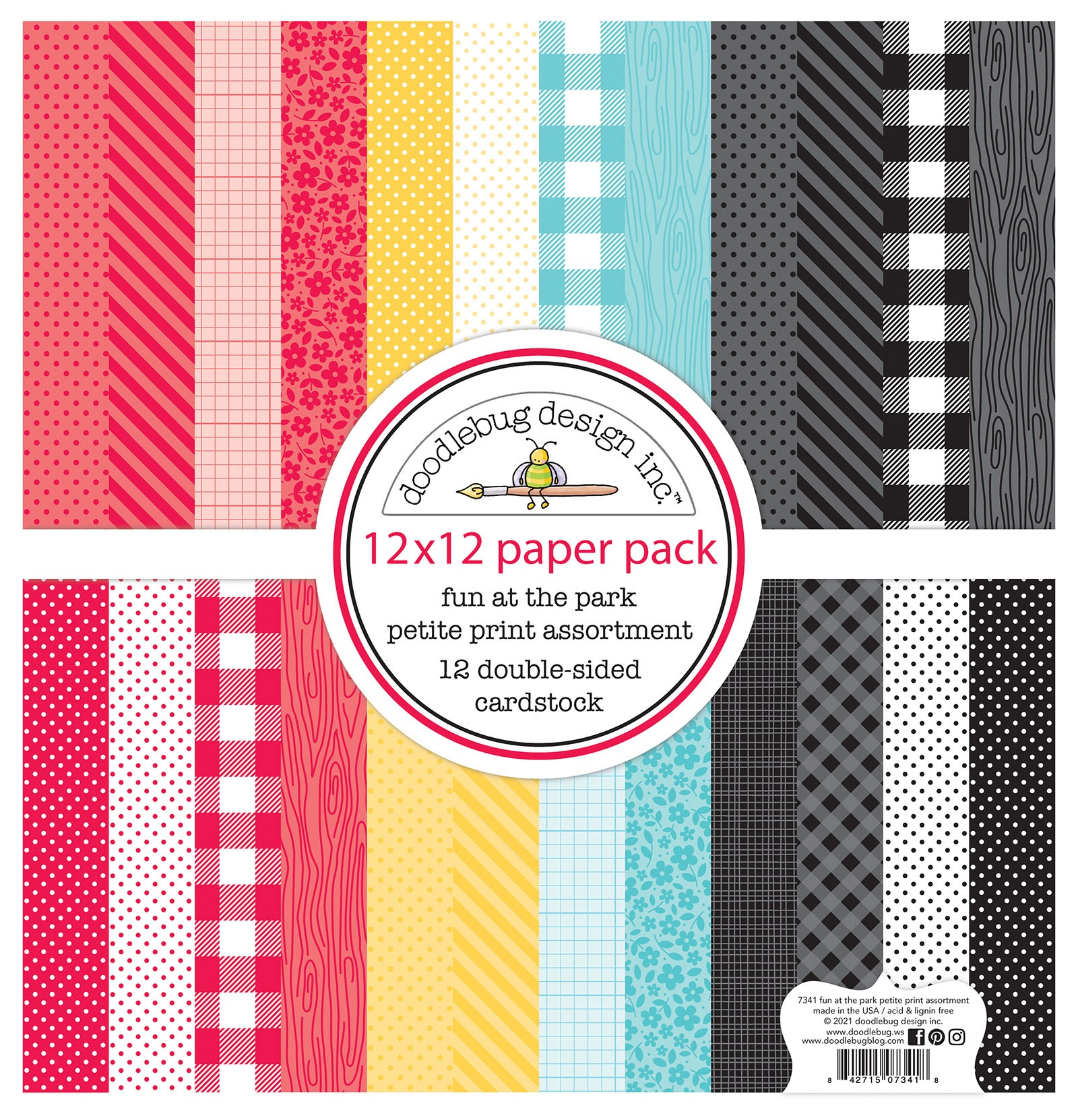 Doodlebug Petite Prints Double-Sided Cardstock 12X12 12/Pk-Fun At The Park, 12...