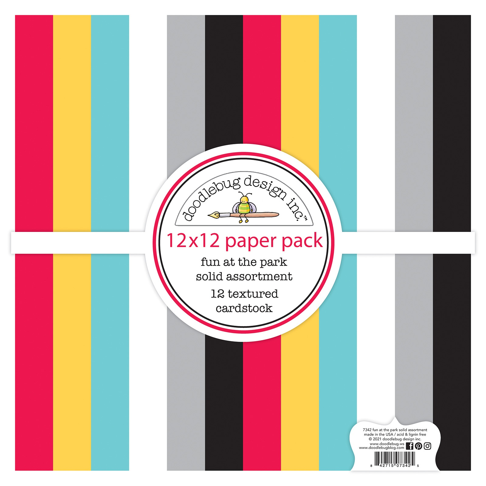 Doodlebug Textured Double-Sided Cardstock 12X12 12/Pkg-Fun At The Park