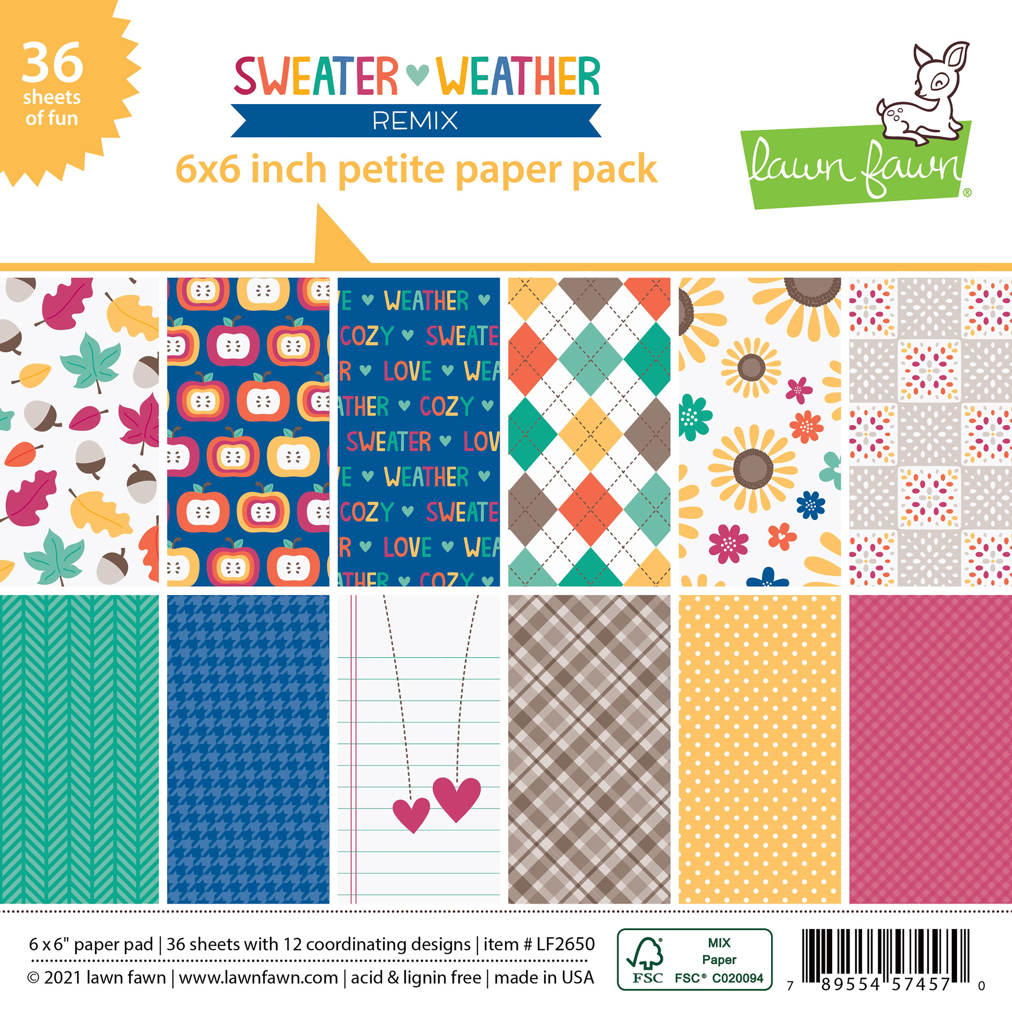 Lawn Fawn Sweater Weather Petite Paper Pack 6X6 36/Pkg