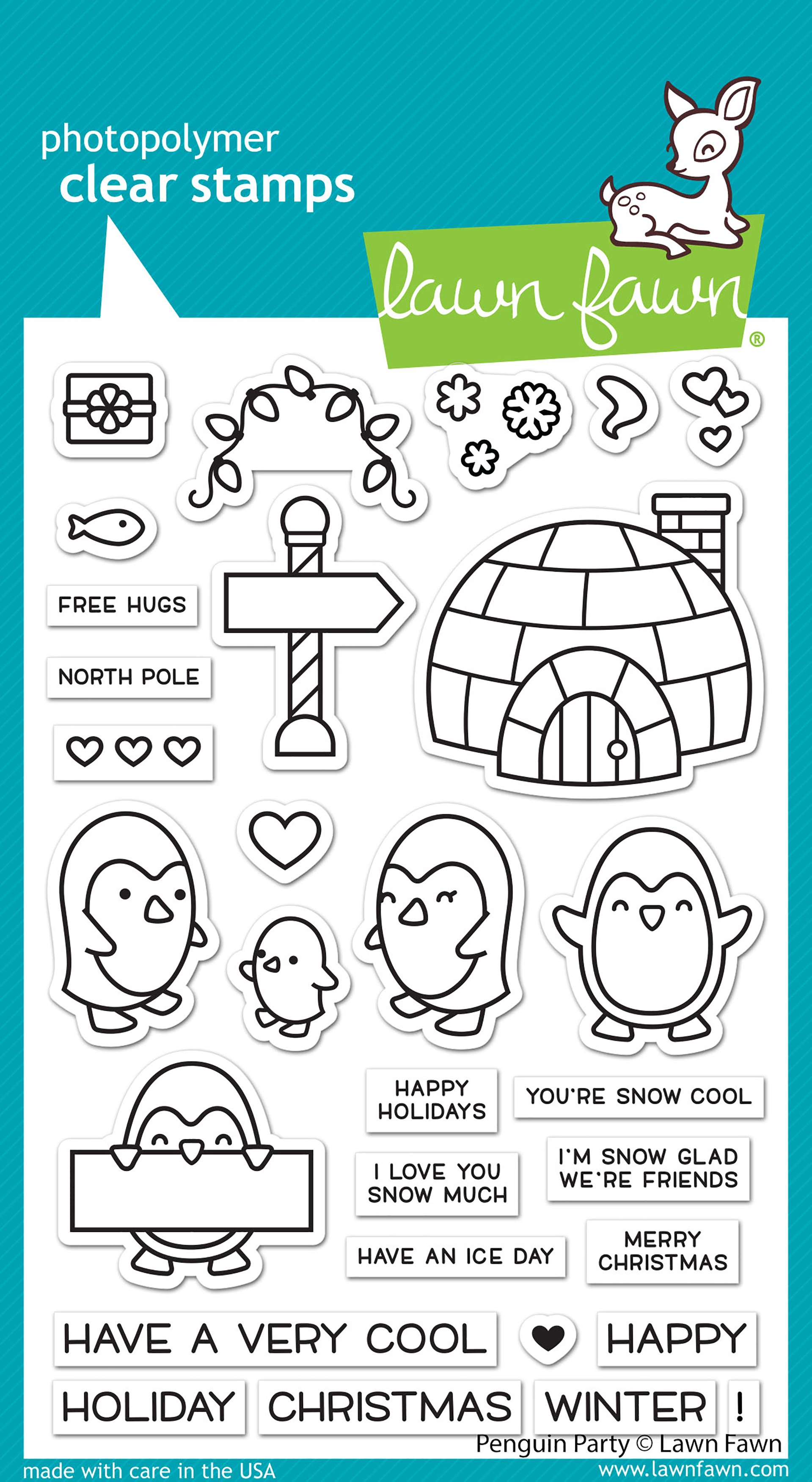 Lawn Fawn Clear Stamps 4X6-Penguin Party