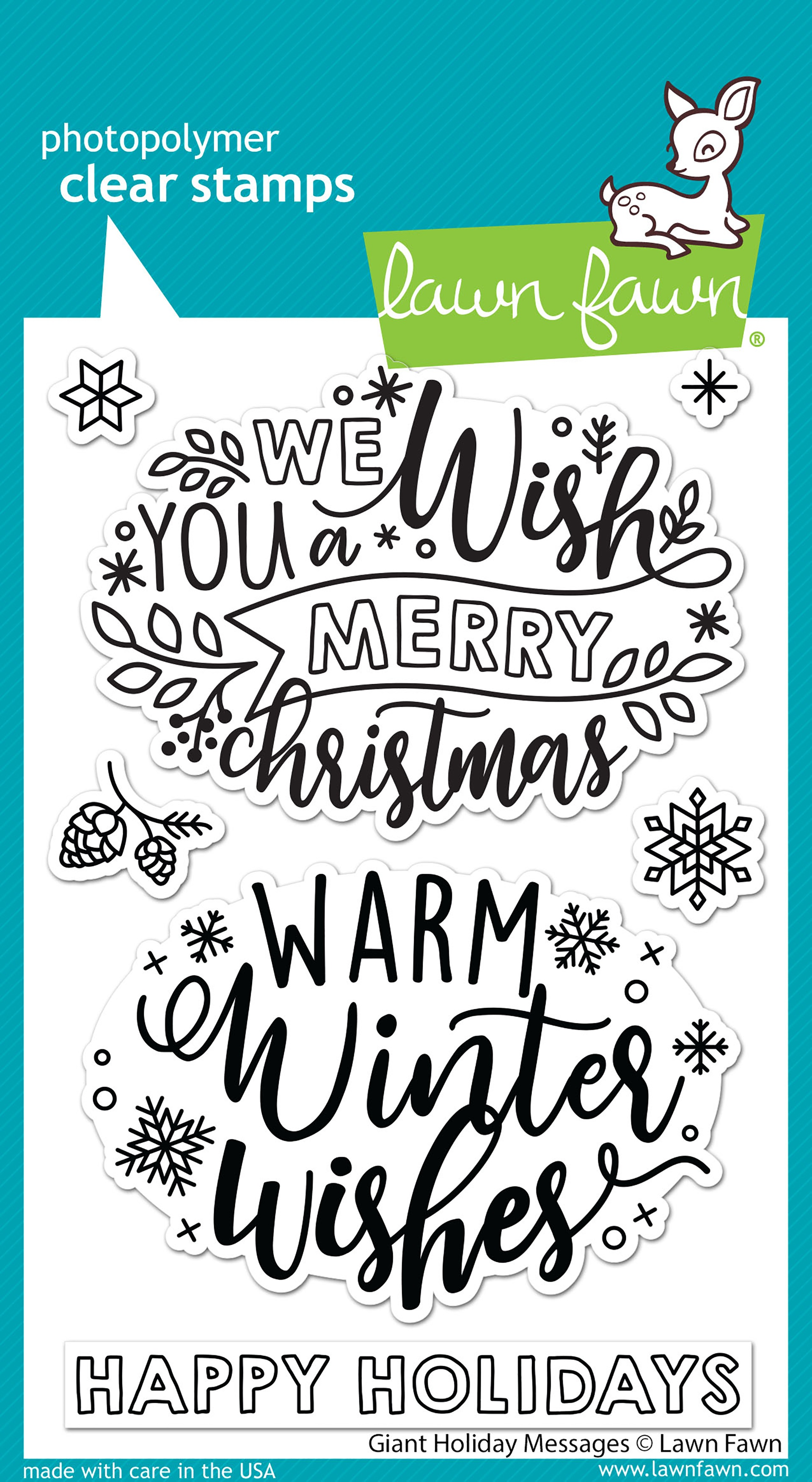 Lawn Fawn - Clear Stamps - Giant Holiday Messages