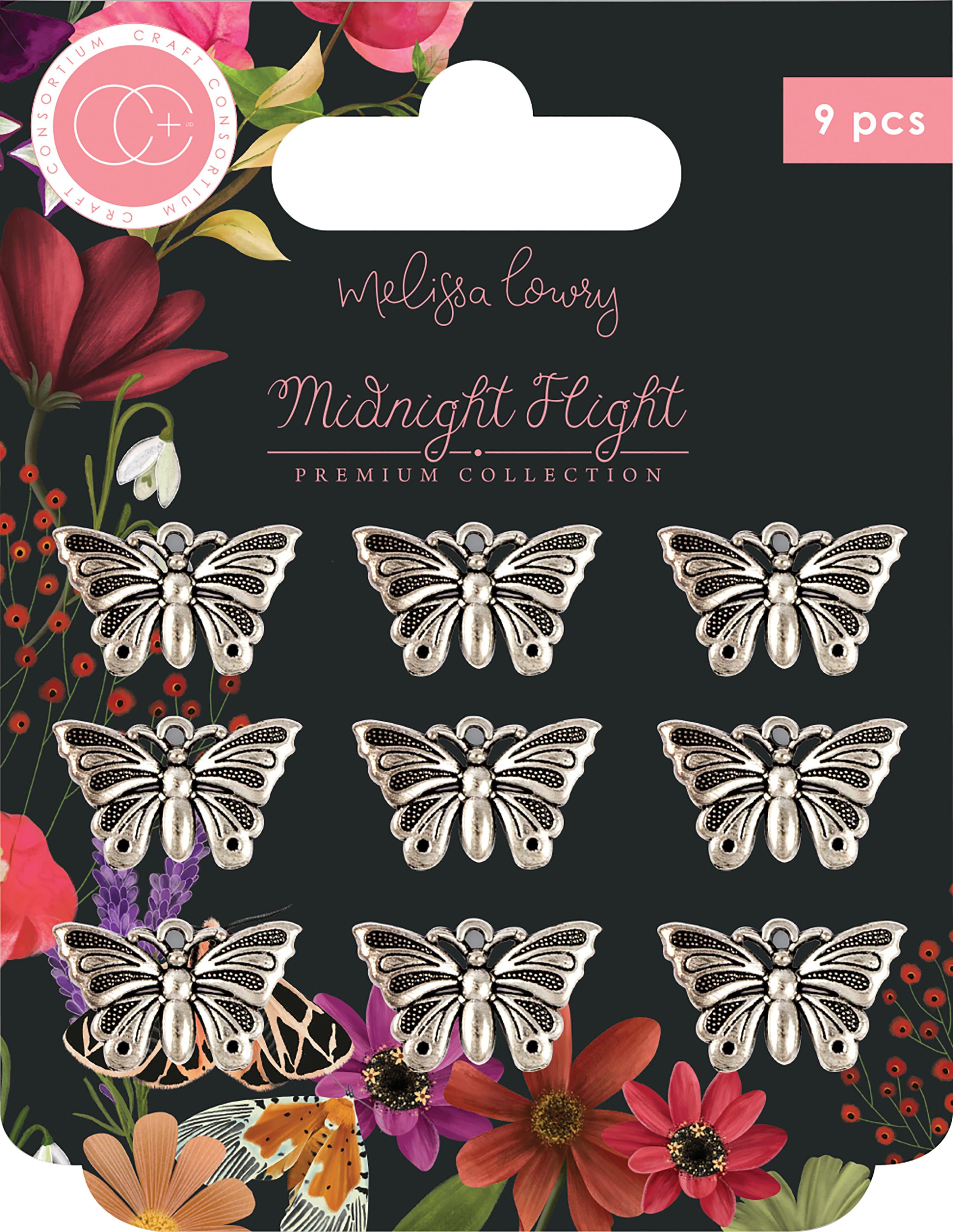 Craft Consortium Midnight Flight Metal Charms 9/Pkg-Silver Moth