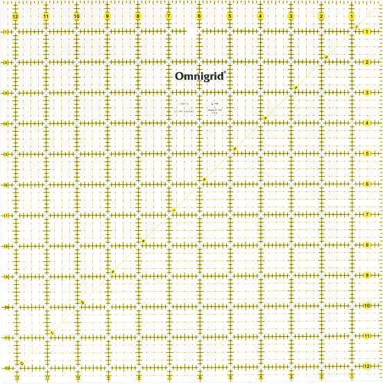 12 1/2 Inch x 12 1/2 Inch Omnigrid Ruler