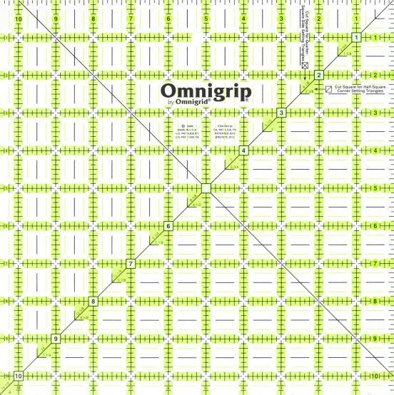 10 1/2 Inch x 10 1/2 Inch Omnigrip Ruler