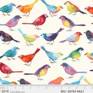 4738 26765 MUL1 Bird Watchers for P&B Textiles. 100% cotton 43 wide
