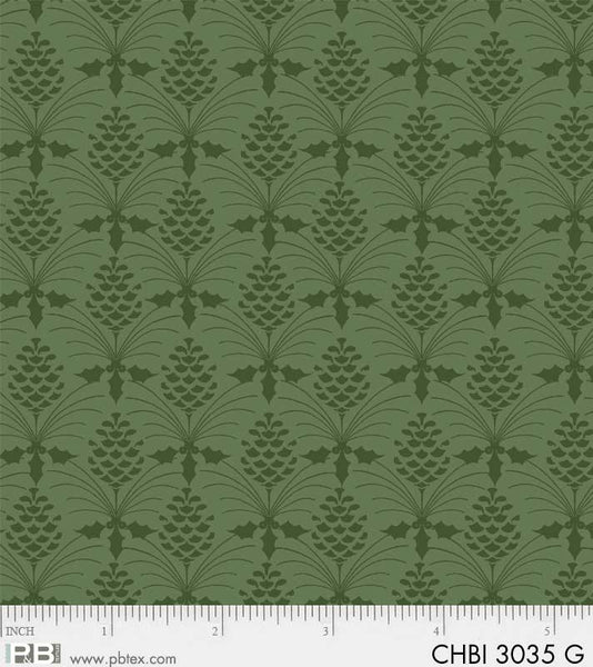 CHBI 3035 G Christmas Bird Song Texture Green