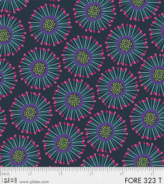 PB- Forest Fancies Teal Circle Flower