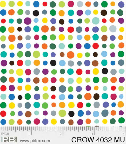 GROW 4032 MU - P&B Textiles - White w/ Multi Dots